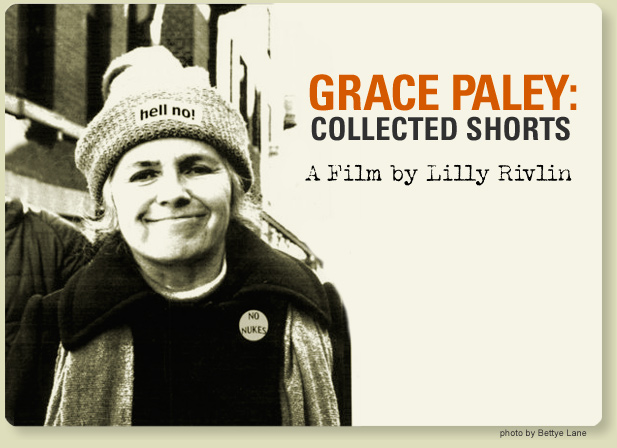 Photo of Grace Paley in New York City wearing a hat with Hell No label